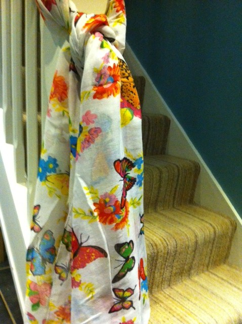 Butterfly World Scarf White
