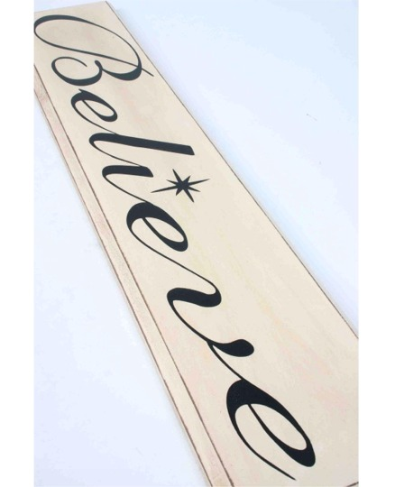 Wooden Believe Room Sign