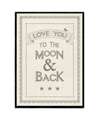 Love You To The Moon & Back Wooden Framed A4 Print East of India