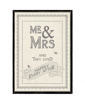 New Mr & Mrs and They Lived Happily Ever After Wooden Framed A4 Print East of India