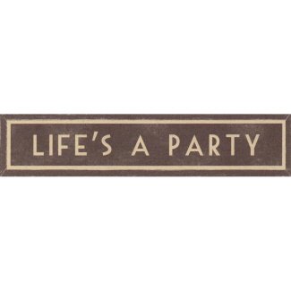 Life's A Party Long Wooden Framed Print East of India