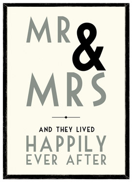 Mr & Mrs and They Lived Happily Ever After Wooden Framed A4 Print East of India